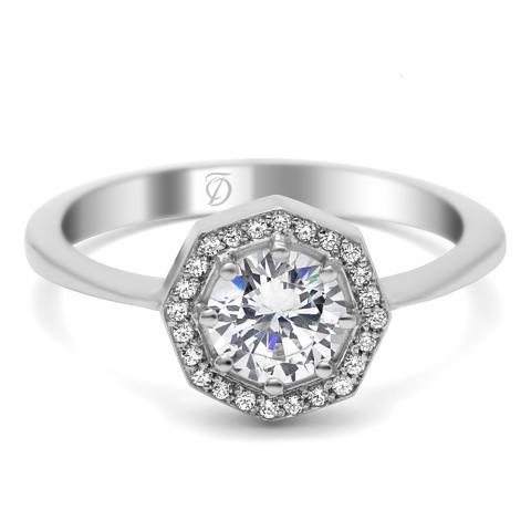 Gorgeous Gatsby-Esque Deco Diamond Engagement Ring by Timeless Designs! Delicate and feminine, this micro pave octagon halo engagement ring has a smooth tapered shank and contains .096 carats of diamonds. @houstonjewelry #gatsby #deco