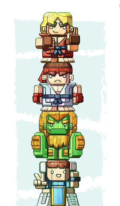 geeksngamers:  World Warriors Totem - by Paul Wilson Artist's Website | Facebook | Twitter