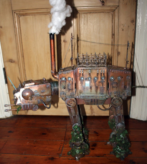 insatiablesmile:  Yes! A very big steam powered AT-AT what smokes…  Credit goes to http://captainbayley.com