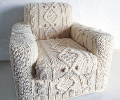 laughingsquid:  Armchair Cover That Looks Like a Cable Knit Sweater  A is for Aran Armchair.