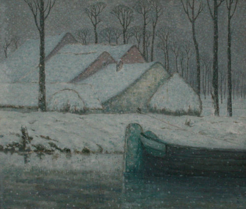 fleurdulys:  Snowy Landscape with Barge - William Degouve de Nuncques 1911