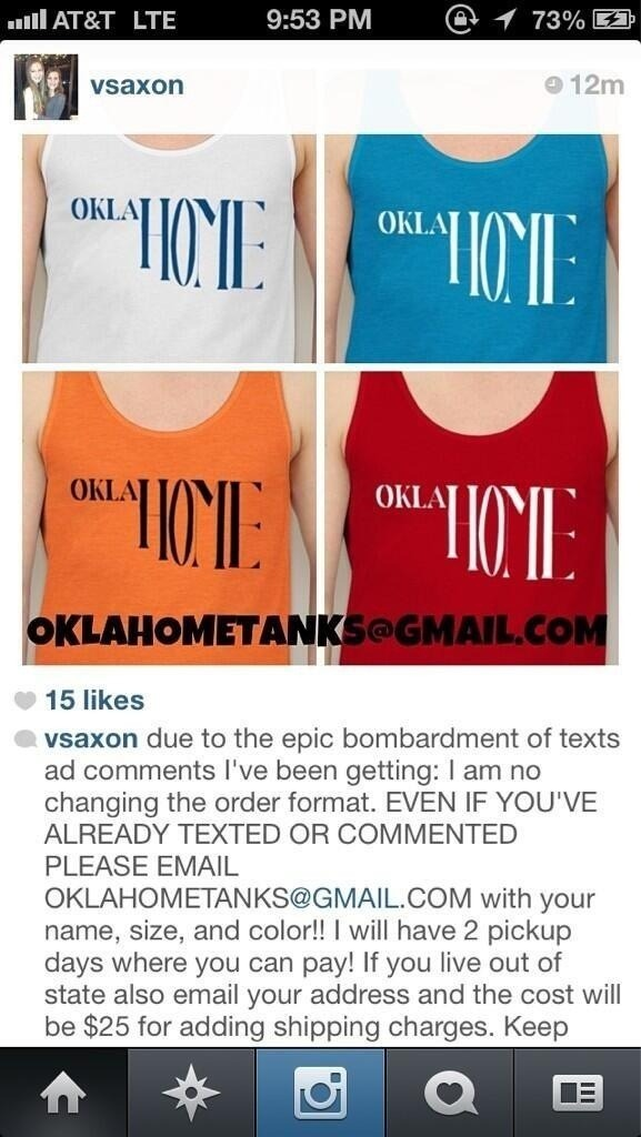 Hey guys! These Oklahome T-shirts were designed by a friend of mine and they are for sale for only $25 with shipping! ALL of the proceeds go to Moore, so please spread the word! To order, email to oklahometanks@gmail.com with your name, size, and color! If you live out of the state of Oklahoma, also email your address.  THE LAST DAY TO ORDER ONE IS MAY 28TH