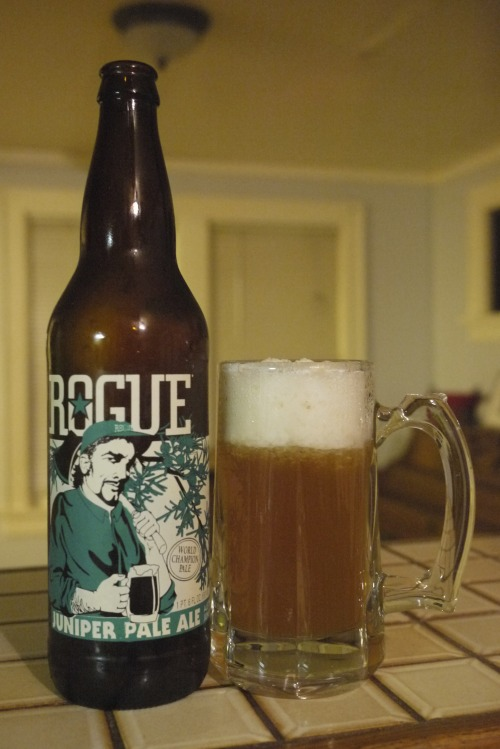 Day Four Rogue Juniper Pale Ale : Rogue Brewery, Oregon : 5.3% ABV This actually serves two purposes- Gives me my Oregon fix Gives me something to shoot for when I try a juniper IPA next round of brewing. This stuff is gold.