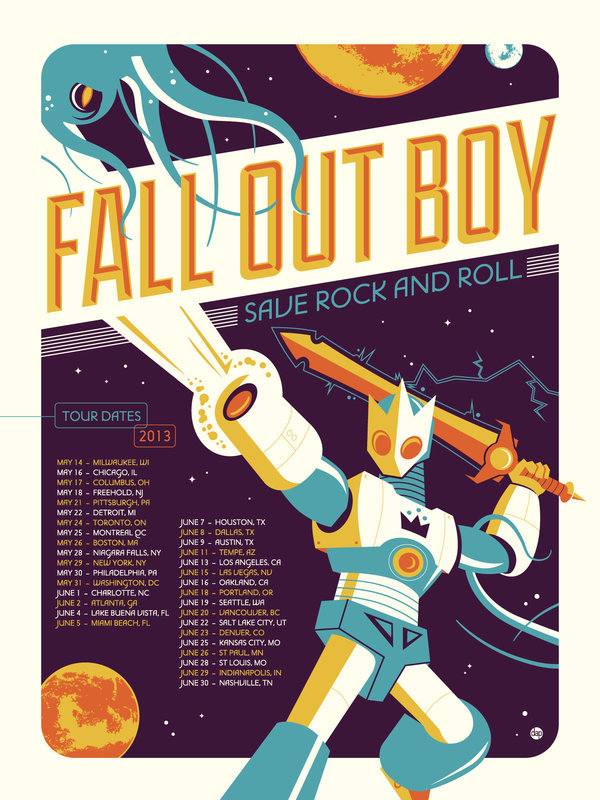 "deviantart:  Fall Out Boy sources another deviant, Dave Perillo (*Montygog), to design their tour posters!They also used this deviation as the cover of their latest album, ""Save Rock and Roll""."