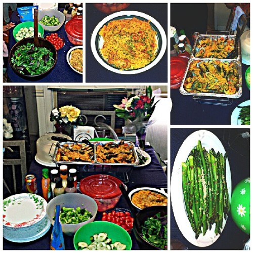 The Mother's Day #dinner spread from Sunday evening #salad #asparagus #seafood #paella #WeDIDTHAT #MothersDay2013 #Mom #family #food #foodaddict #yummilicious #Sisters #SisterDivas … #feedyourstomach and #feedyourheart
