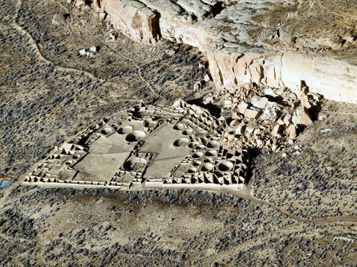 nickkahler:  Aerial of Pueblo Bonito, Chaco Canyon, NM, c. 828-1126 CE