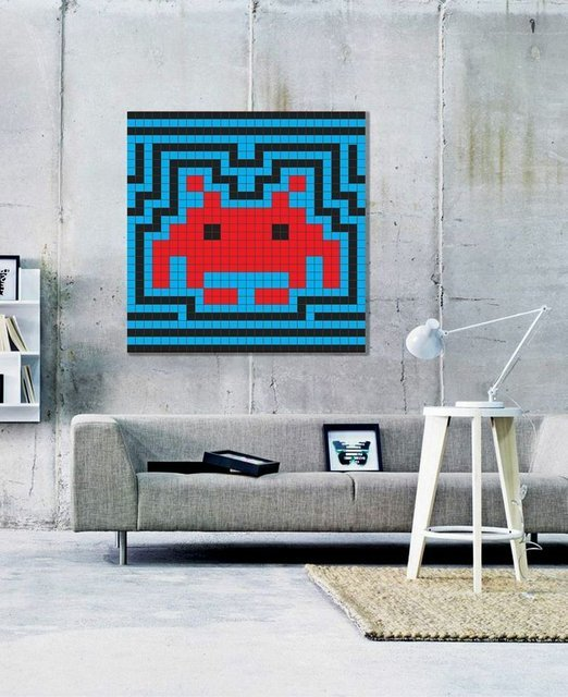 The statement in this room credits the Space Invader Aura Tile Art
