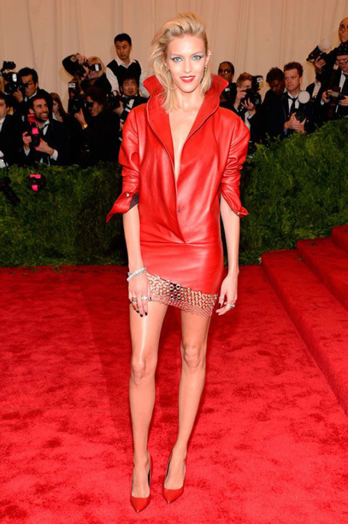 Anja Rubik  in Anthony Vaccarello Best Dressed at the Red Carpet of Costume Institute Gala for the 'PUNK: Chaos to Couture' exhibition at the Metropolitan Museum of Art 2013. May 7th, 2013 8:32  P.M. GMT.