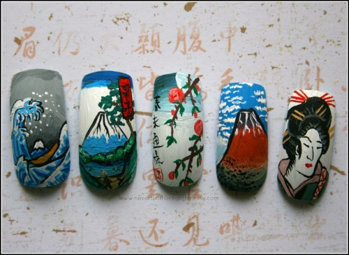 Handpainted Japanese woodblock print nails.