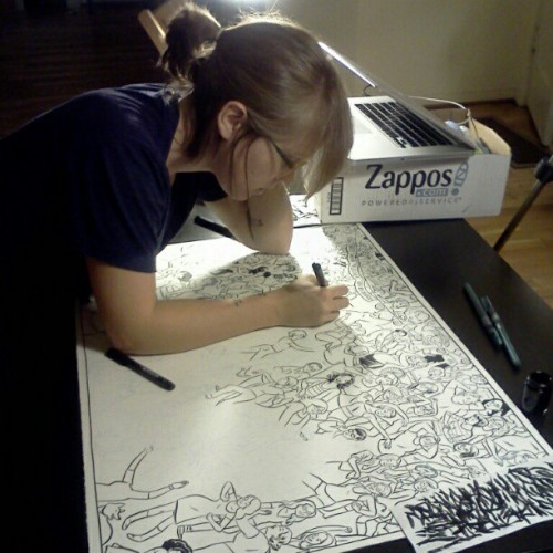 erikamoen:  Lucy Knisley working on our Planned Parenthood poster.
