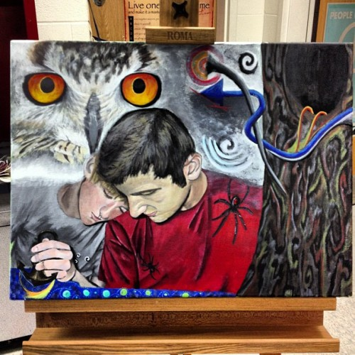 wellthatwassurreal:  I finished my painting… #done #art #painting #surrealism #owl #selfportrait by bellis159 http://instagr.am/p/TJCrlWCeIO/