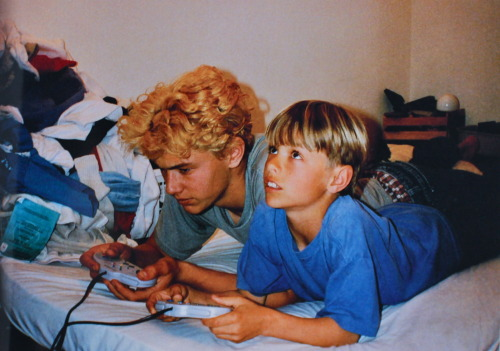 James and Dave Franco playing a video game together when they were kids.