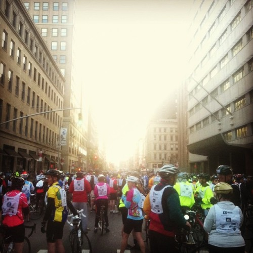 theweekmagazine:  Thousands of riders up early for the Five Boro Bike Tour. - Chris #biking #nyc  I heart NYC.