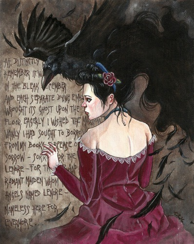 """The Lost Lenore"" - Acrylic & ink on wood panel 8"" x 10""© 2012 Catherine E. Moore Original piece SOLD but prints are now available at my Society6 shop."