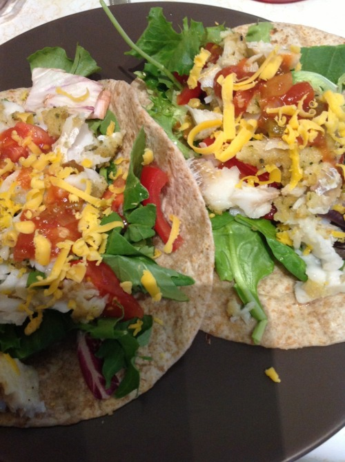 Herb crusted Cod-fish tacos!