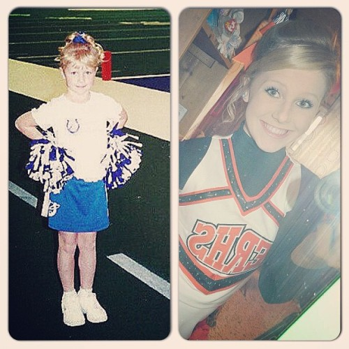 Transformation Tuesday. #me #cheerleader #cute #colts #tigers #old #throwback #cheer #collage #different #selfie #instacollage #love