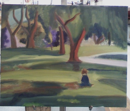 fauvist painting of my nephew at the park. work in progress.