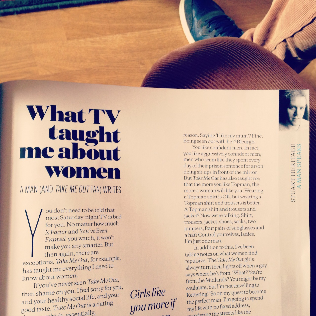 Look! I'm in this month's Elle magazine! I wrote an article about Take Me Out! You can read the headline, first quarter and third quarter in the picture! Or all of it if you buy the actual magazine! Like people did in the olden days! Elle!