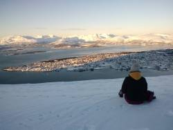 Took this picture of Tromso, Norway in february, around 11 in the morning. The sun finally reaches the city. - Imgur
