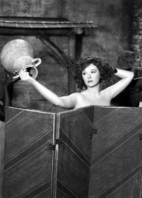 mudwerks:  (via Women in the Bible: Bathsheba in the Shower) Susan Hayward bathing in the 1951 film David and Bathsheba.  What happened to this kind of modesty in film?