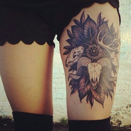 Cute Skull Tattoos on Thigh Skull-thigh-tattoo | Tumblr