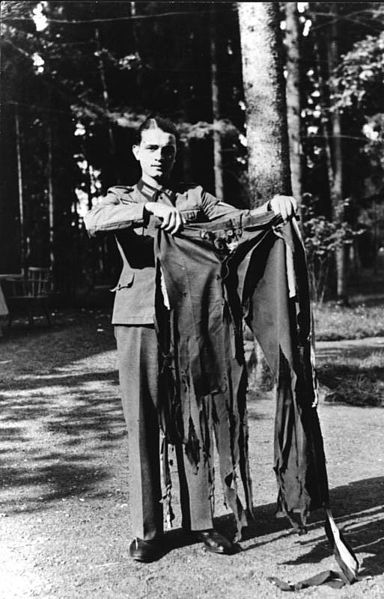 Hitler's trousers after the assasination attempt on July 20th, 1944. Wolf's Lair, Rastenburg, East Prussia. [513 x 800] - Imgur