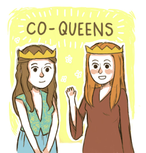 knightofbunnies:  Doodlin' Margy and Sansa for queens on the Iron Throne