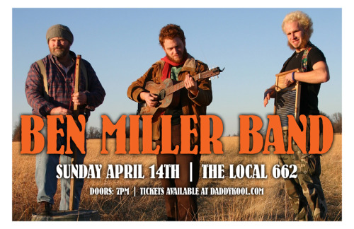 Hailing from Joplin, Missouri, The Ben Miller Band is a one-of-a kind trio that combines the frenetic energy of bluegrass, the soul of the delta blues and the haunted spirit of Appalachian mountain music. Band members Ben Miller, Scott Leeper, and Doug Dicharry create a unique and modern sound while continuing the tradition of blending together many different musical styles, which has long been a trait of their native Ozarks. See the Ben Miller Band next Sunday, April 14th at The Local 662!