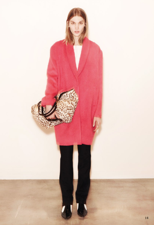 Trending for fall 2013: an oversized pink coat.  Love this one from Elizabeth & James. -Becky Malinsky