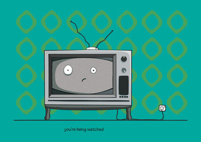 is the tv freaked out at being watched?…or is it freaked out at what you watch and how you watch it? …put some trousers on! (via you're being watched Art Print by Emma Harckham | Society6)