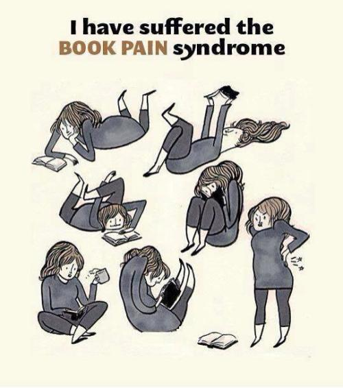 I am so starting a 'walk' for Book Pain Syndrome. (Instead of a ribbon our symbol will be the tassel from a $0.99 bookmark) ~ eP  statisticalprobabilityofanything:  hsgagency:  They need to invent a comfortable reading position  the joy!