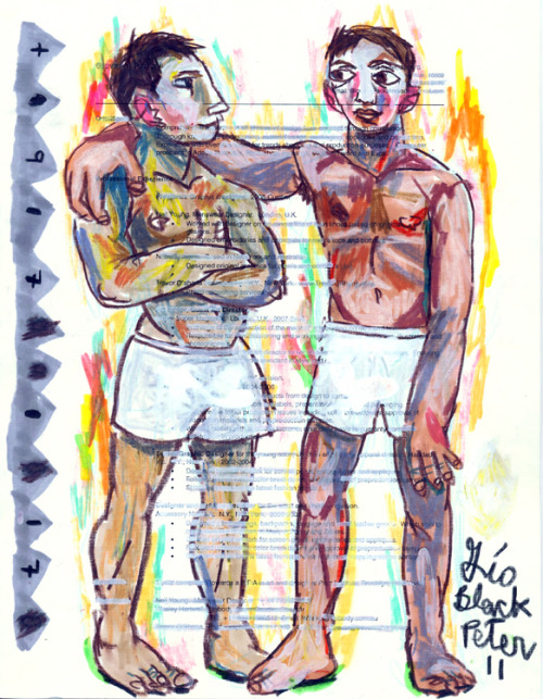 "You See It. I See It 2011 Oil pastel, marker and pencil on slave CV. 8.5"" x 11"""