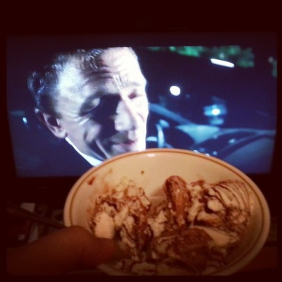 Midnight Bond movie snack…some chocolate fudge swirl ice cream =D