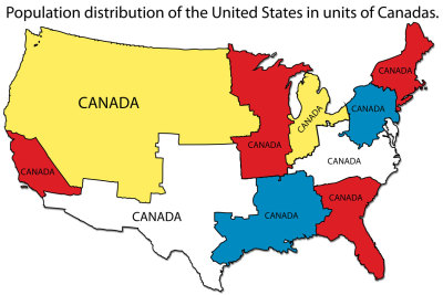 isomorphismes:  Population distribution of the United States in units of Canadas.