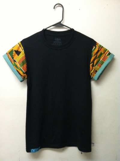 dontfeedmeviolins:  Authentic kente cloth with spray green under-sleeve // $16.00 // slamtees.storenvy.com