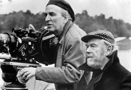 Director Ingmar Bergman and cinematographer Sven Nykvist in the process of creating the indelible images of Fanny and Alexander