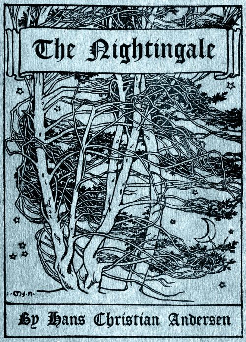 Mary J. Newill (1860-1947), front cover from The nightingale, by Hans Christian Andersen, New York, 1898.  (Source: archive.org)