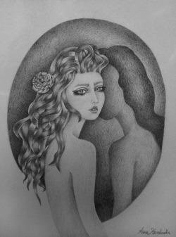 drawing Illustration art girl Black and White pencil b&w mirror reflection shAdow artists on tumblr illustrators on tumblr