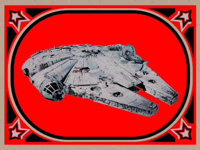 "Millenium Falcon 24x18"" screenprint with metallics Ink Blunt Graffix"