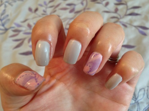 Water marbled accent nails with OPI Moon Over Mumbai
