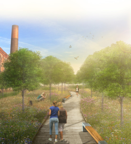 Dissertation update: Following a planting scheme of wildflower meadow mixed with urban tree planting, linear forms curve through the landscape reflecting historical industrial railway forms and movements.