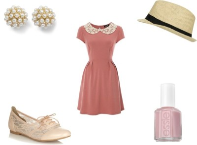 Spring Outfit by karolinam-928 featuring a straw fedoraCall it SPRING wingtip oxford, $36 / White House Black Market dot jewelry / Wet Seal straw fedora / Essie , $15