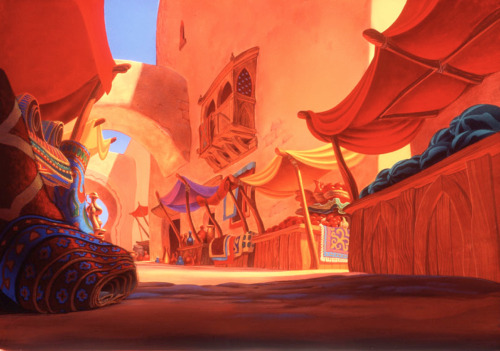 disney:  Visual development art from Aladdin, 1992.