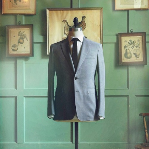 "After a year of development with our in-house master tailor, we are extremely pleased to announce the arrival of our newest addition to our suiting line. ""The Freeman"" suit. A US made suit that is fully canvassed, slim fitting with high armholes and slightly tapered trousers with a much lower price-point than we have ever been able to offer before. Available in made to measure services as well. (at Freemans Sporting Club)"