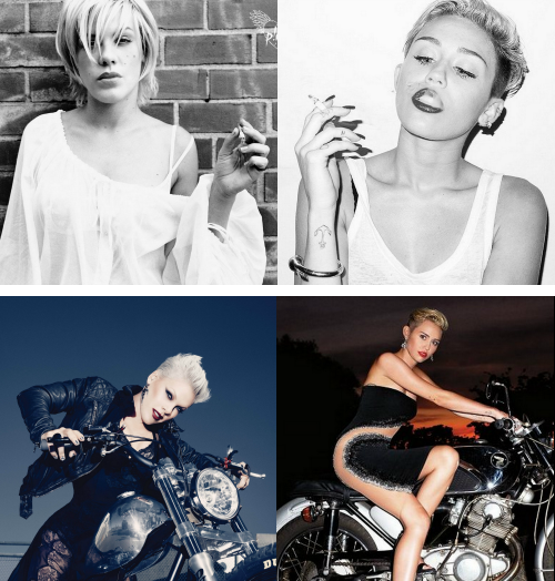 pinkspage:  mybadinfluence:  Miley wants to be P!nk. this post gets bigger day by day, I'm scared   Miley will NEVER be as badass as P!nk. And will never EVER be as good as a singer.