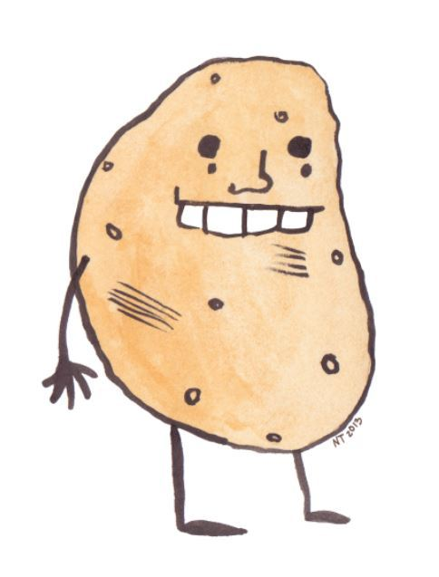 Potato person in ink and watercolors, cleaned up digitally.