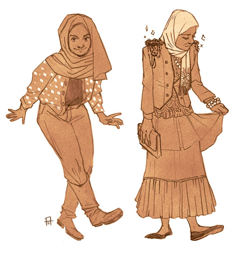 redribbonrobot:  Looked up some hijabi fashion pics on tumblr for inspiration and change of pace in terms of drawing feminine silhouettes.  *References used