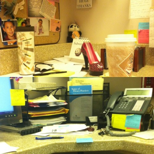 The tragic state of my desk this morning…. 😒 #needtheweekendback #yesthatistwocupsofcoffeeonmydesk #caffeine #work #hospital #life