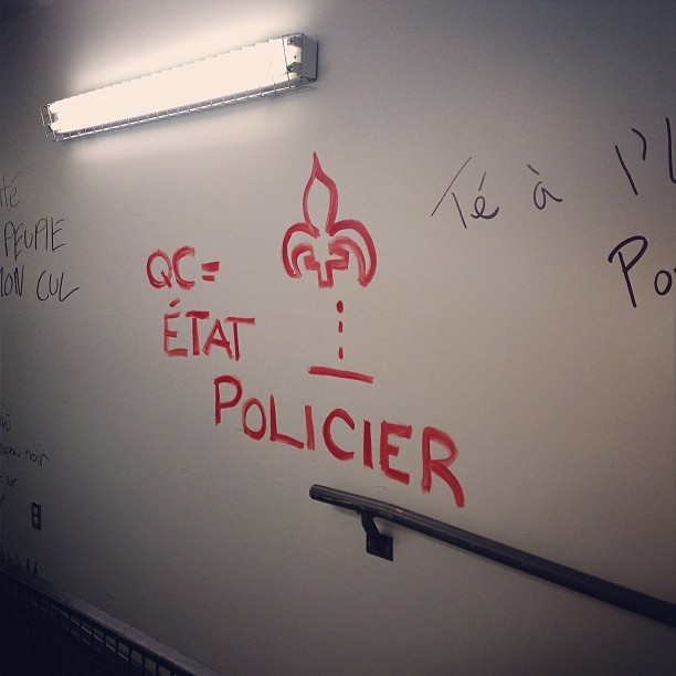 2012 University strikes tags still here.  (at UQAM - Cœur des sciences)