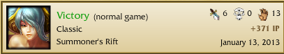 And with that, I have my 100th win in League of Legends.  It took longer than I hoped.  But it was a pretty game, and it was done with my Pentakill Sona skin too. =)